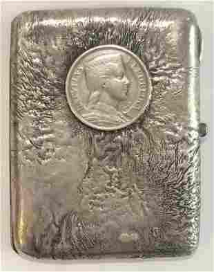 Russian silver cigarette case,samorodok,Latvian coin.