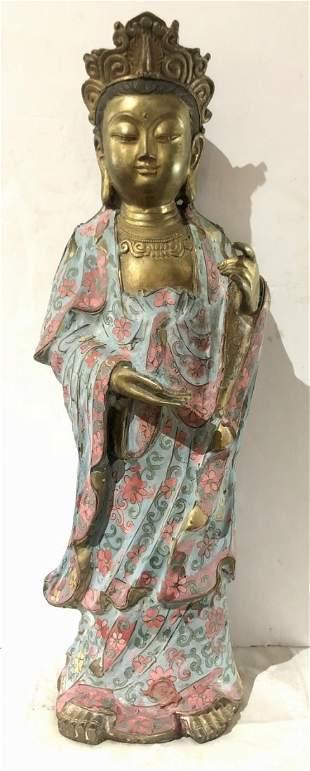 Chinese painted bronze Guanyin, circa 1980