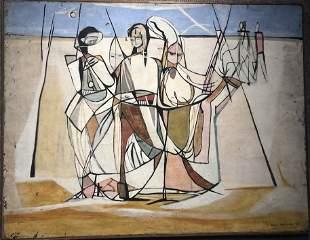 Painting by Ethel Edwards, Tuaregs, 1948