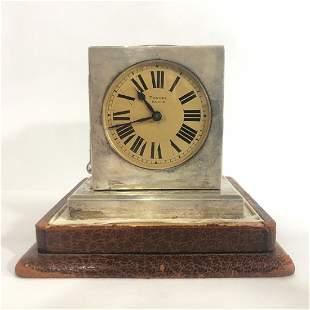 Tonnel Paris, sterling clock w/gadgets,c.1925