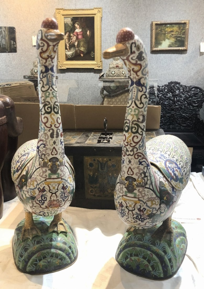 Pair of Chinese cloisonne ducks, c.1985