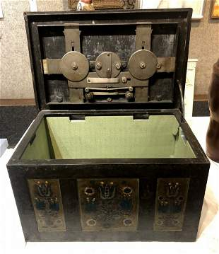 Painted iron strong box, 19th century