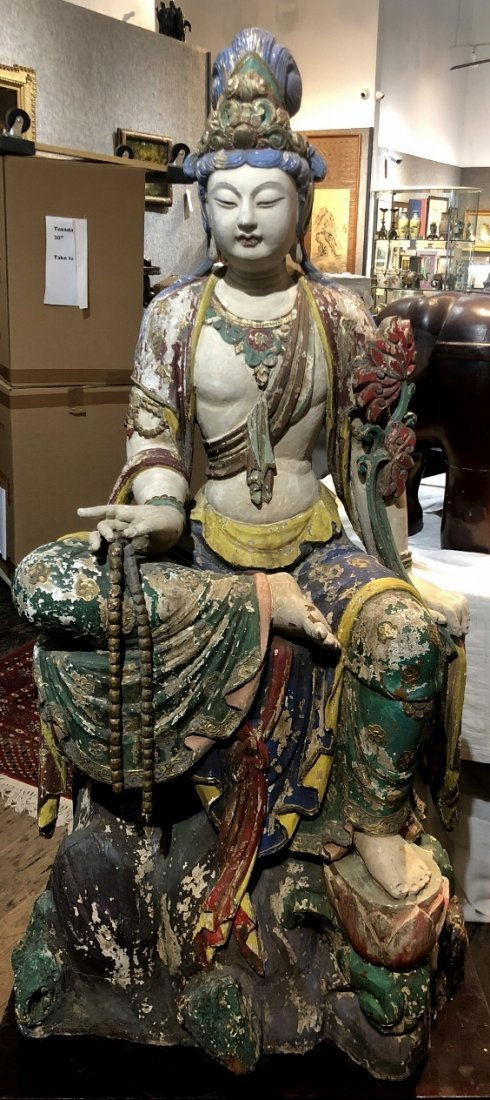 Large Chinese carved wood Guanyin, with base, 18th/19th