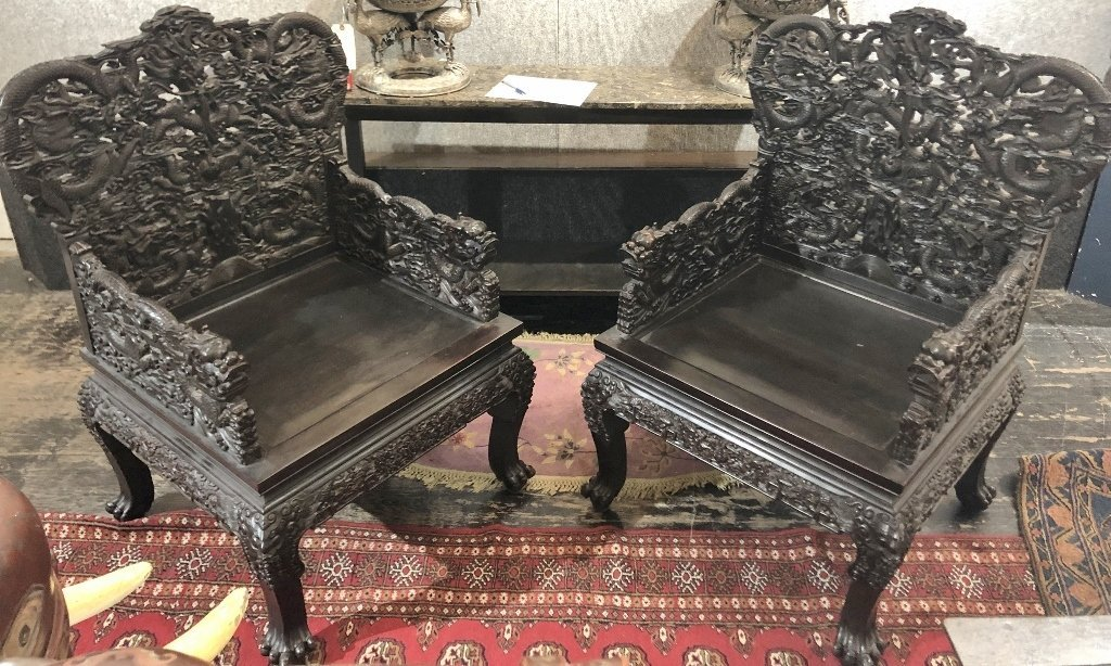 Magnificent pair of Chinese wood palace chairs,c1950.