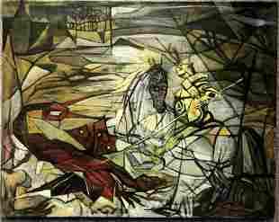 Knight killing dragon, painting by Ethel Edwards,c.1950
