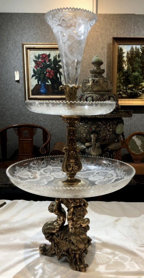 Gilt bronze and etched crystal centerpiece, c.1900