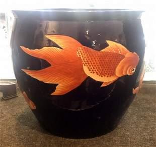 Chinese porcelain blue fish bowl