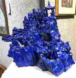 Chinese lapis lazuli carving of mt temple, circa 1965