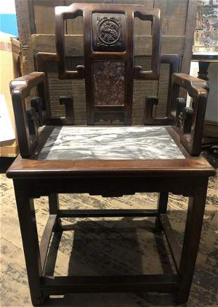 Chinese wood chair with stone seatc1900