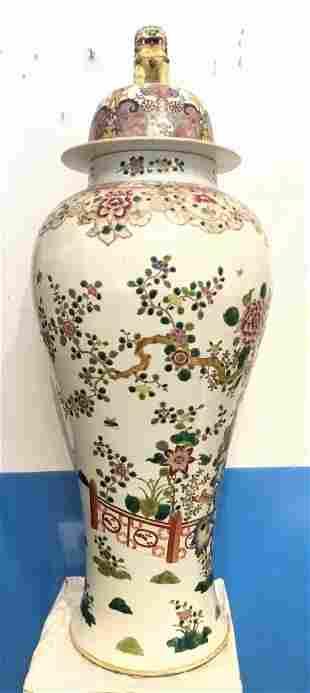 Large Chinese porcelain vaserim damage