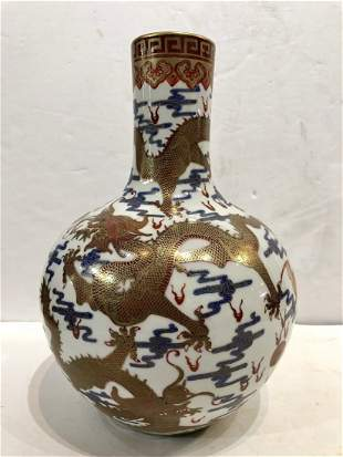Chinese porcelain vase with bats and dragons