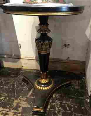 Circular wood table gold and black