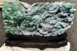 Large Chinese apple jade carving birds