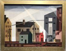 Painting of houses by Niles Spencer