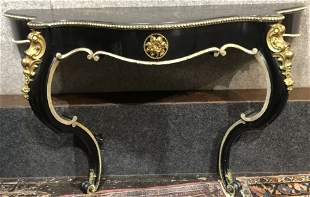 Neoclassical shelf table with ormolu, 37 x 58 inches