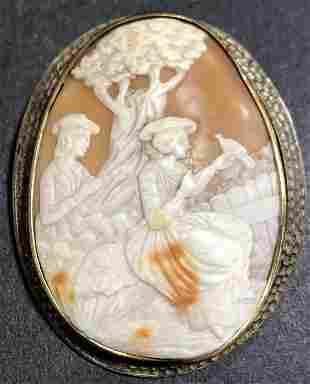 Shell cameo in gilt metal frame circa 1880