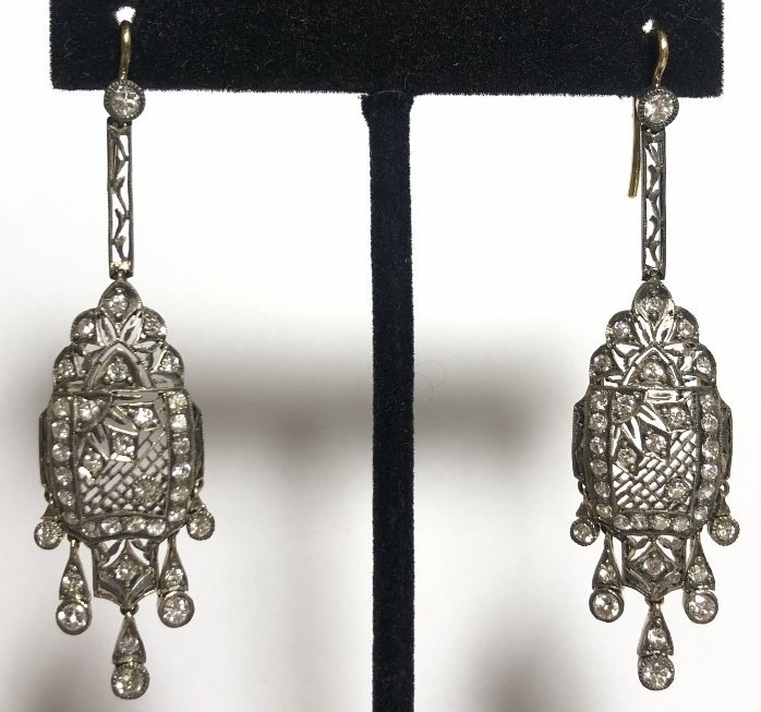 Diamond, gold and silver drop earrings, c.1925