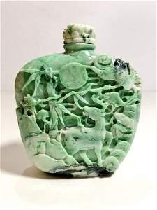 Large Chinese jade snuff bottle, signed