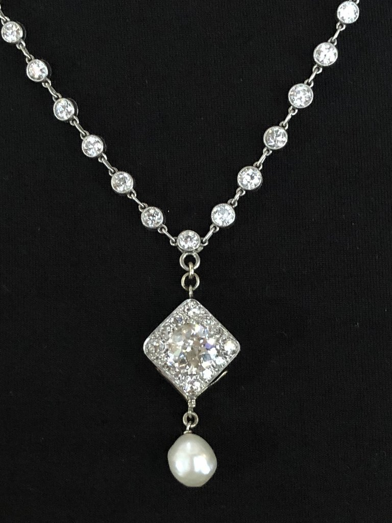18k white gold diamond natural pearl necklace,c.1900