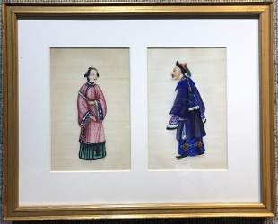 Chinese WC of two court figures c1900 10 x 7 inches