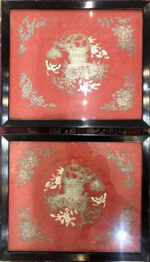 Pair of Chinese embroideries framed