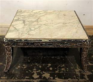 Small wood and marble table 15 x 24 x 18 inches