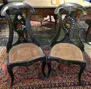 Pair of Victorian mother pearl inlaid lacquer chairs