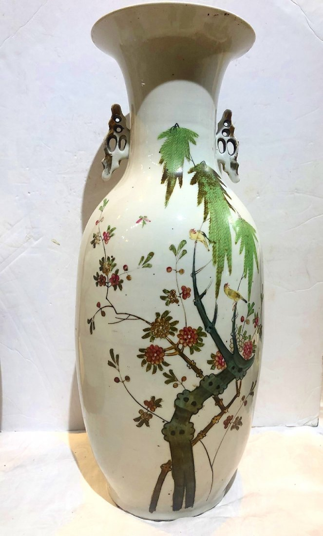 Chinese tall porcelain vase with handles, c.1900
