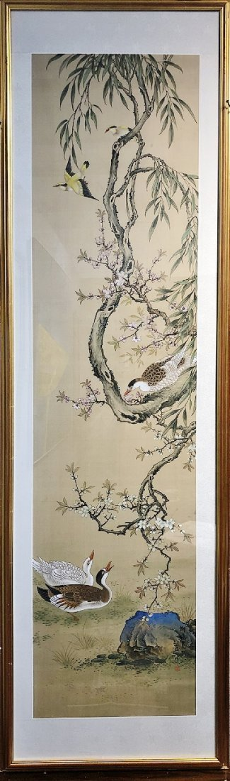 Chinese framed scroll painting, 5 birds,20th century