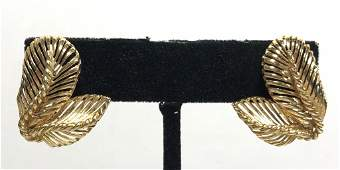 14k gold clip earringsfeather design 6 dwts