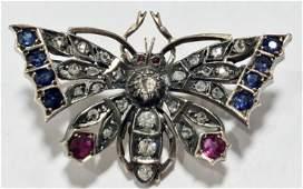14k gold, silver, diamond ruby butterfly pin, c.1900
