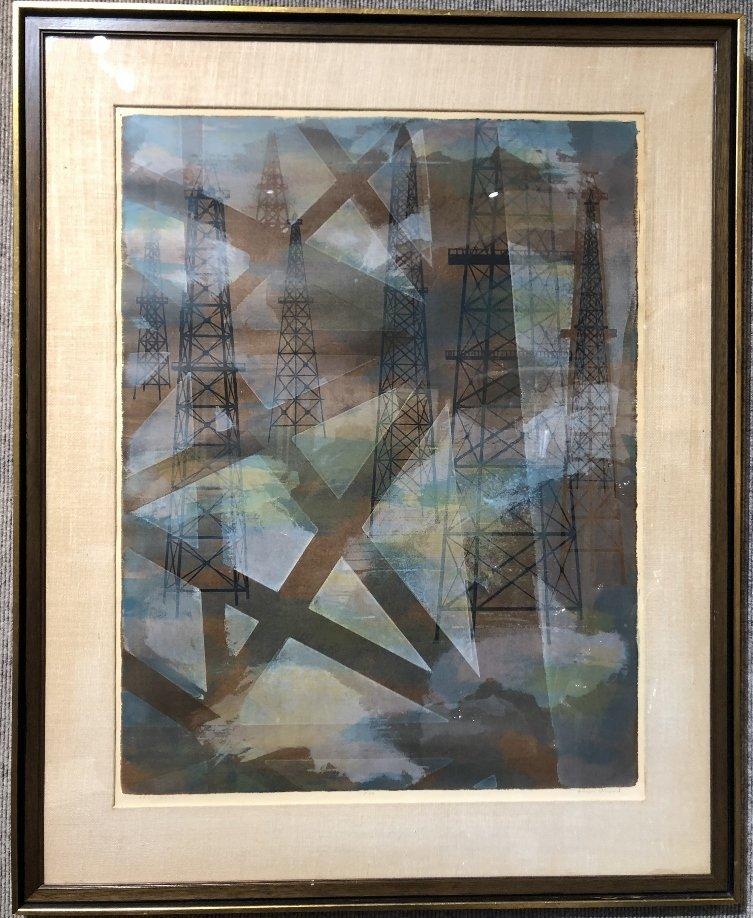 Ginger Osgood, lithograph titled Oil Sentinels