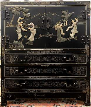 Chinese lacquer chest winlaid stones c1965