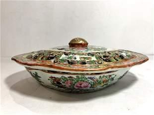 Rose Medallion covered bowl