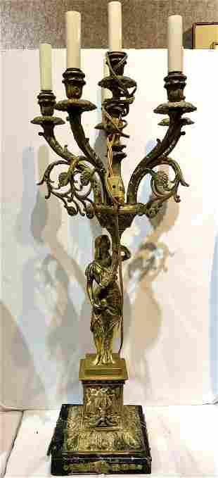 Bronze candelabra lamp marble brokenc1900