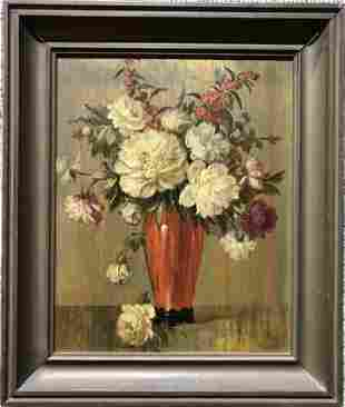 Painting of flowers signed HT Toran