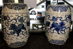 Pair of blue and white Chinese garden seats