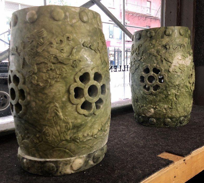 Pair of Chinese hardstone garden seats