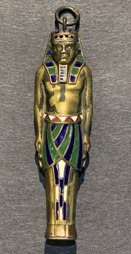 Egyptian revival silver & enamel pencil 0.63 t.oz