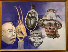 Watercolor of masks by George Neff-Orrin Riley