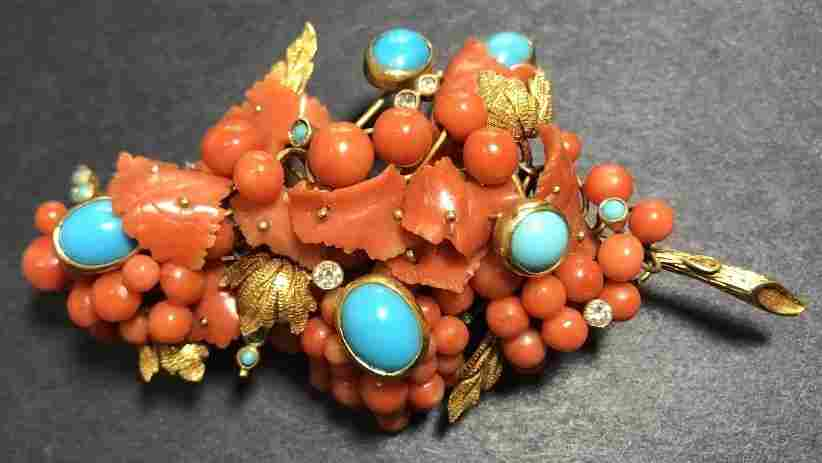18k gold coral & Persian turquoise brooch 25.4 dwt