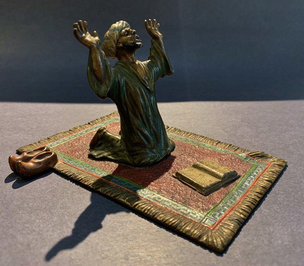 Vienna bronze of praying Arab signed Austria