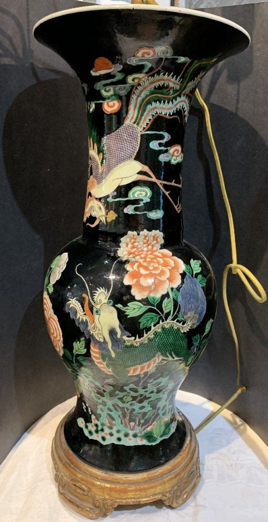 Famille noire Chinese lamp, c.1900