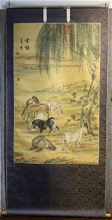Chinese horse scroll circa 1970