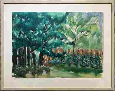 Unsigned watercolor of trees unsigned greenorange