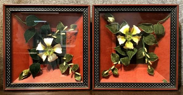 Pair framed Chinese wall decorations