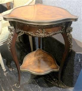 Inlaid wood triangular side table c1920