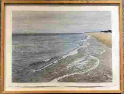 Pastel of coast by Raymond Ray Spahn 1990