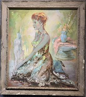 Painting of a lady with sun dress, c.1950