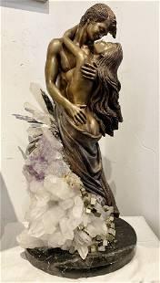 Bronze of lovers with quartz crystal decorationc1985